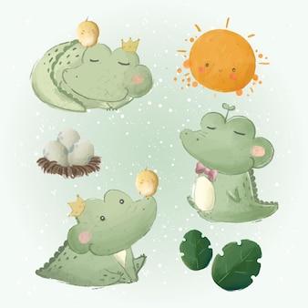 Schattige baby alligator doodle collecties 2