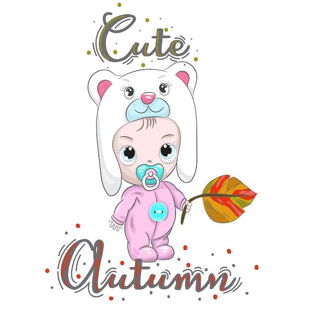 Schattige baby babyjongen bedrijf herfstblad cartoon tekening