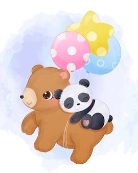 Schattige baby beer en panda die samen vliegen