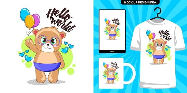 Schattige baby beer met ballon illustratie en merchandising