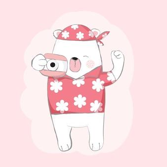 Schattige baby beer met camera cartoon hand getrokken stijl