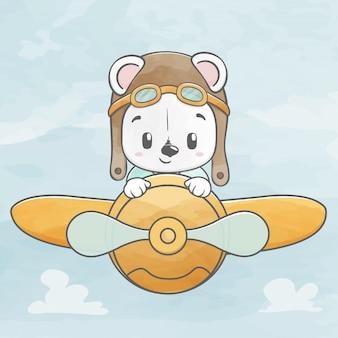 Schattige baby beer vliegen met vliegtuig water kleur cartoon hand getrokken