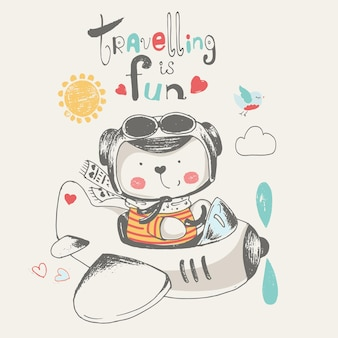 Schattige baby beer vliegen op een vliegtuig cartoon hand getekende vectorillustratie