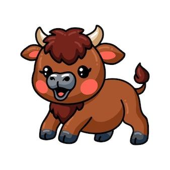 Schattige baby bizon cartoon poseren