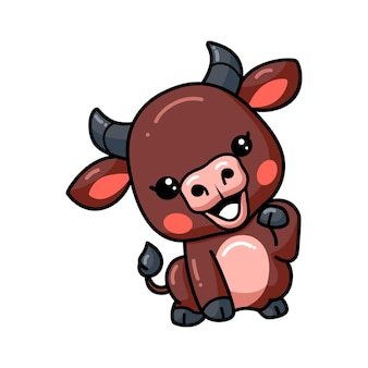 Schattige baby buffel cartoon poseren
