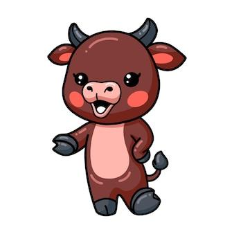 Schattige baby buffel cartoon presenteren