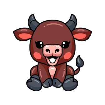 Schattige baby buffel cartoon zitten