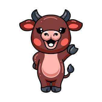 Schattige baby buffel cartoon zwaaiende hand