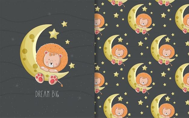 Schattige baby cartoon leeuw kaart en naadloze patroon voor kinderen