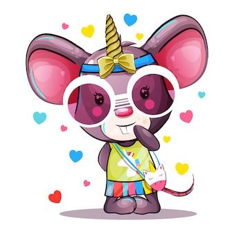 Schattige baby cartoon muis in eenhoorn kostuum
