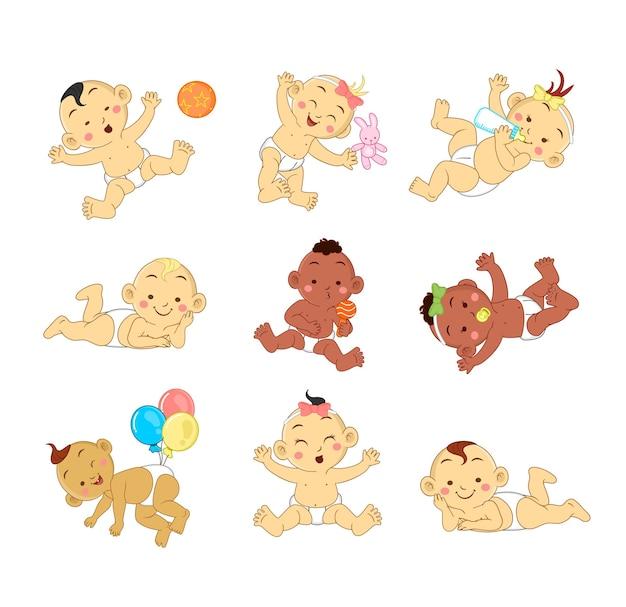 Schattige baby cartoon tekenset