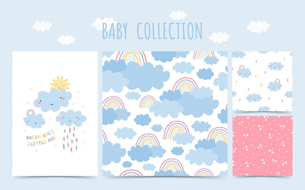 Schattige baby collectie naadloze patroon met regenboog, wolken, regen voor baby's. achtergrond in de hand getekende stijl voor kinderkamer ontwerp.