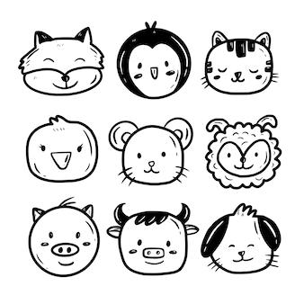 Schattige baby dier gezicht tekenen doodle