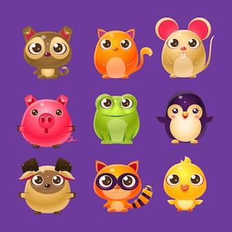 Schattige baby dieren in girly design