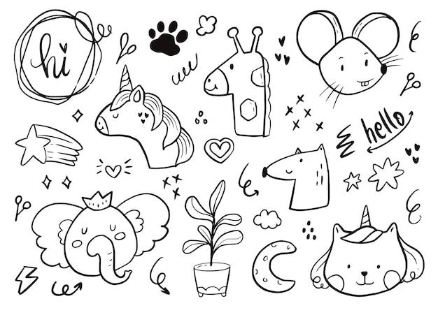 Schattige baby dieren sticker set. eenhoorn, olifant, regenboogtekening in witte illustratie als achtergrond
