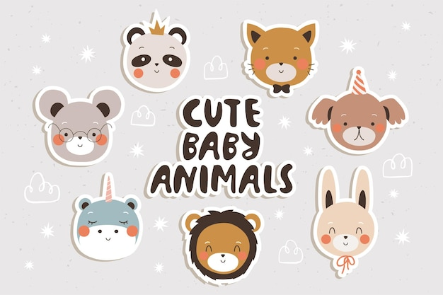 Schattige baby dieren stickers set voor cgildrens Premium Vector