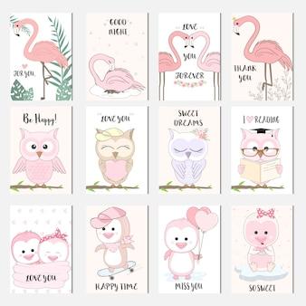Schattige baby dierlijk beeldverhaal vogel kaartenset