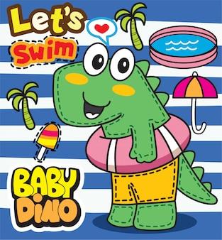 Schattige baby dino cartoon