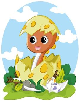 Schattige baby-dino die uit ei komt Premium Vector
