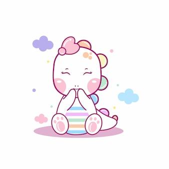 Schattige baby dino illustratie
