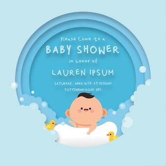Schattige baby douche achtergrond kaartsjabloon