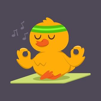 Schattige baby eend doet yoga oefening. het grappige vogelkarakter in lotusbloem stelt geïsoleerd op een achtergrond. sport en fitness.