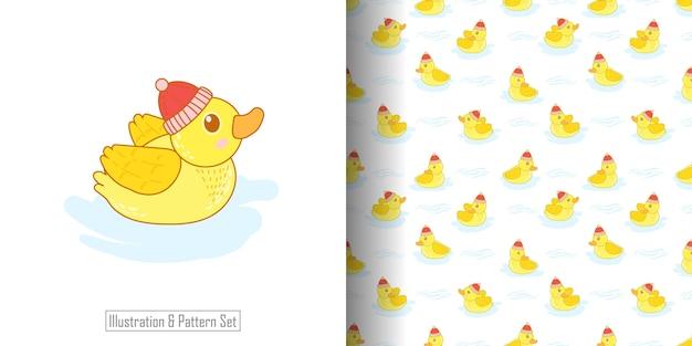Schattige baby eend illustratie met patroon ingesteld