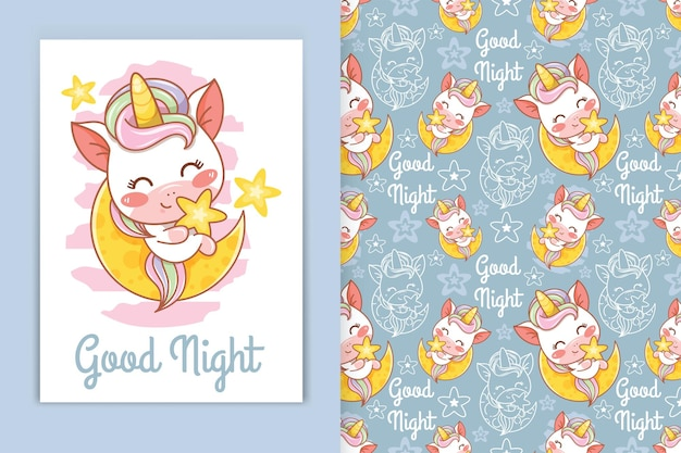 Schattige baby eenhoorn met maan en kleine ster cartoon afbeelding en naadloze patroon set