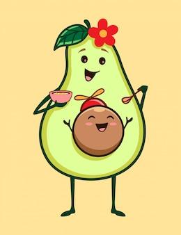 Schattige baby en moeder avocado