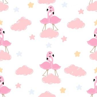 Schattige baby flamingo dierlijke naadloze patroon