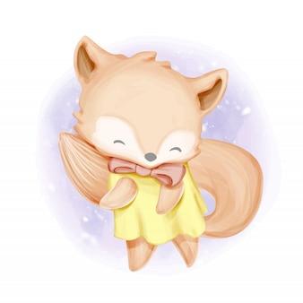 Schattige baby foxy dansende aquarel