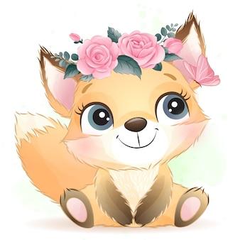 Schattige baby foxy met bloemen
