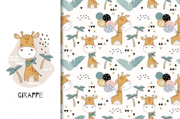 Schattige baby giraffe dierlijke karakter. kaart en naadloze patroonreeks. hand getekend textiel ontwerp illustratie