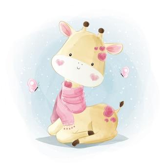 Schattige baby giraffe draagt een roze sjaal