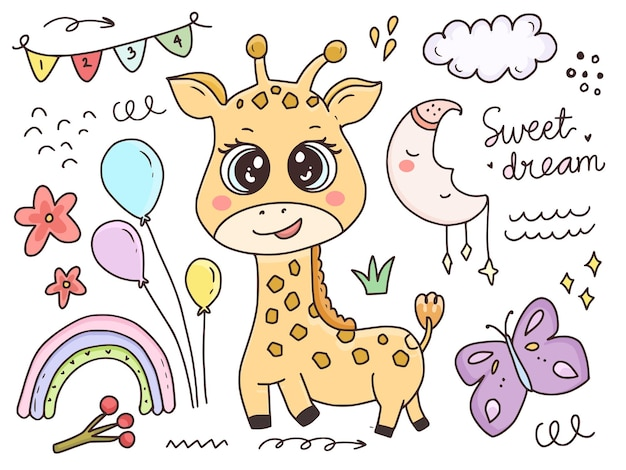 Schattige baby giraffe tekenset cartoon
