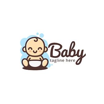 Schattige baby glimlach logo sjabloon