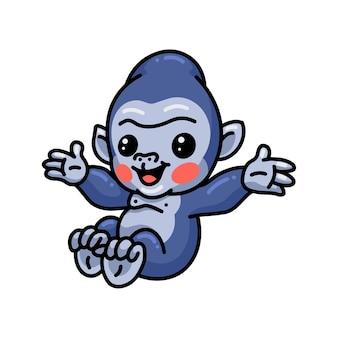 Schattige baby gorilla cartoon springen