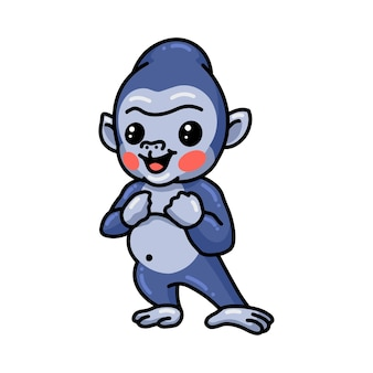 Schattige baby gorilla cartoon staande