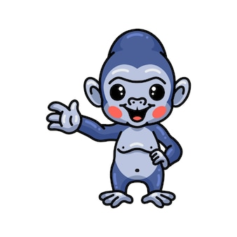 Schattige baby gorilla cartoon zwaaiende hand