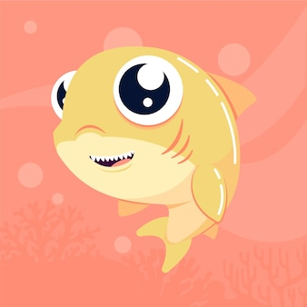 Schattige baby haai cartoon stijl