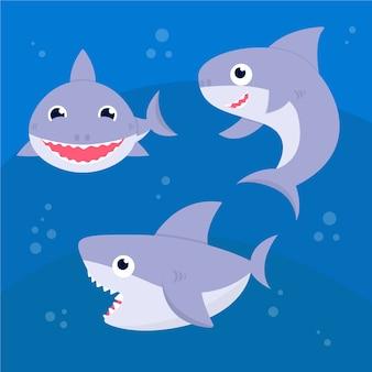 Schattige baby haai in plat design