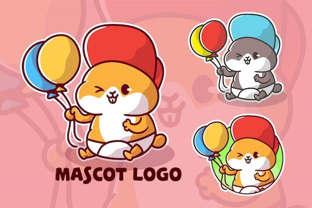 Schattige baby hamster mascotte logo set