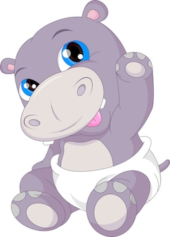 Schattige baby hippo cartoon zwaaien