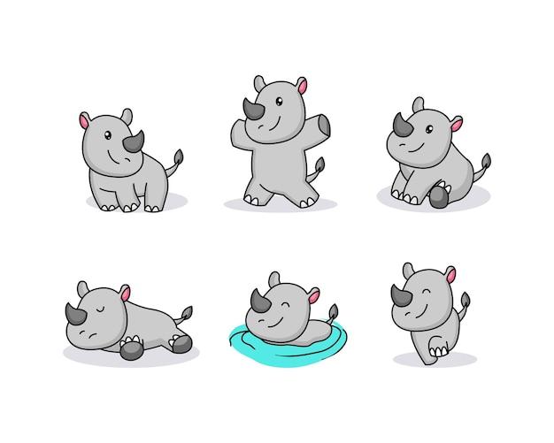 Schattige baby hippo mascotte logo ontwerp