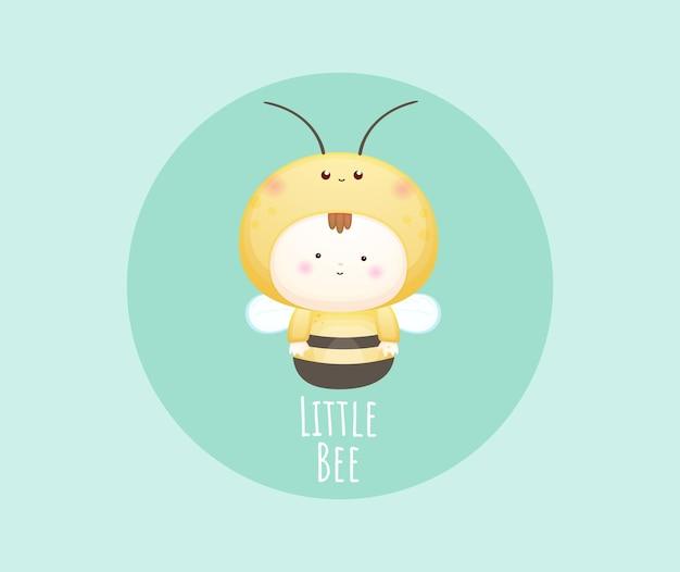 Schattige baby in bijenkostuum met tekst. mascotte cartoon afbeelding premium vector