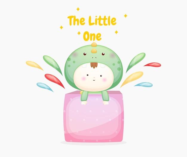 Schattige baby in dinosauruskostuum in kleurrijke doos premium vector