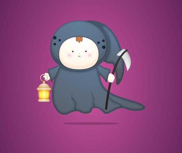Schattige baby in halloween enge kostuum cartoon illustratie premium vector