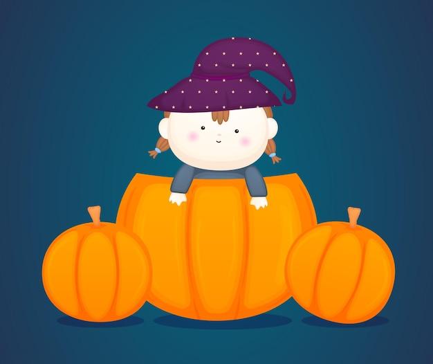 Schattige baby in halloween kostuum. pompoen cartoon afbeelding premium vector