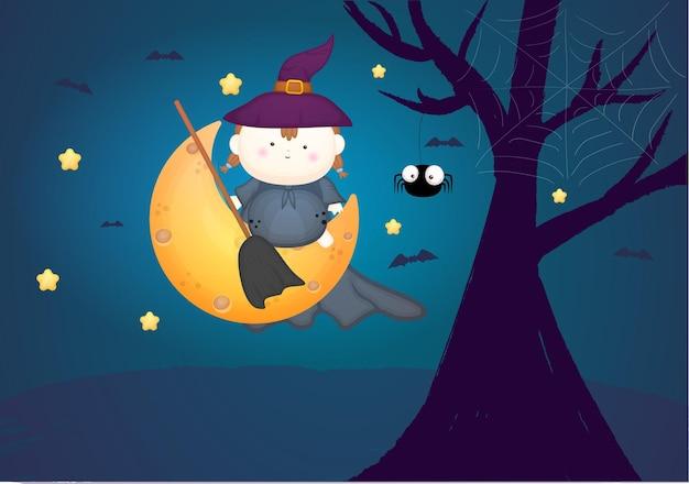 Schattige baby in heksenkostuum met bezemsteel zit op de maan. halloween kostuum premium vector