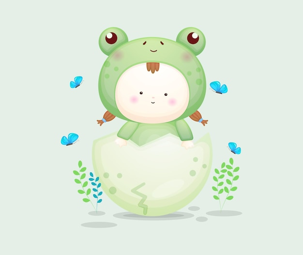 Schattige baby in kikkerkostuum met kleurrijk ei. mascotte cartoon afbeelding premium vector